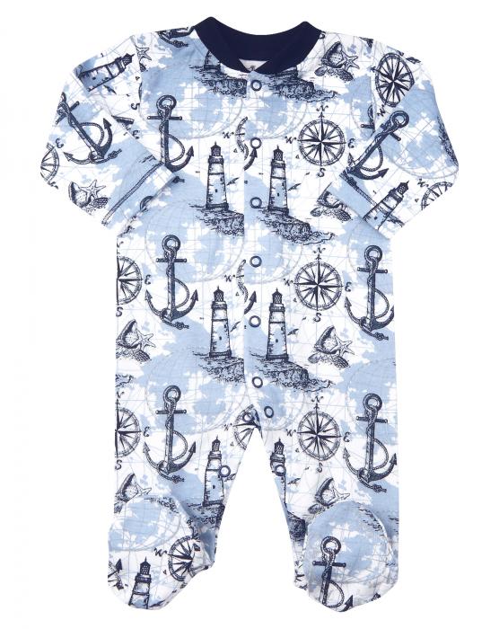 Pijama tip salopeta intreaga cu talpa, bumbac organic 100%, baieti, Albastru marin/Alb 0