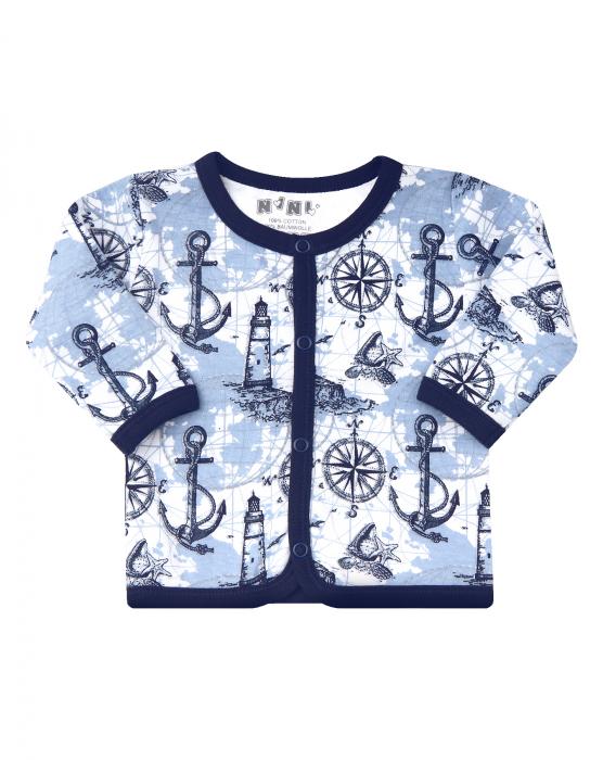 Bluza cu maneca lunga si capse, bumbac organic 100%, baieti, Albastru marin/Alb [0]