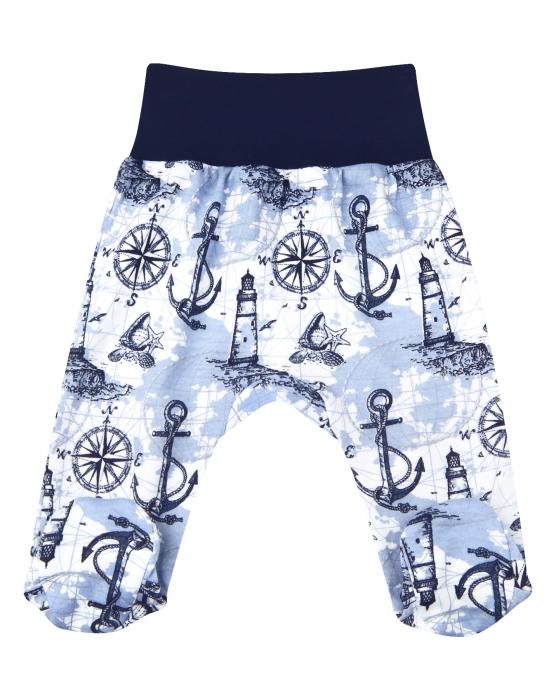 Pantalon tip pijama cu talpa, bumbac organic 100%, baieti, Albastru marin/Alb 0