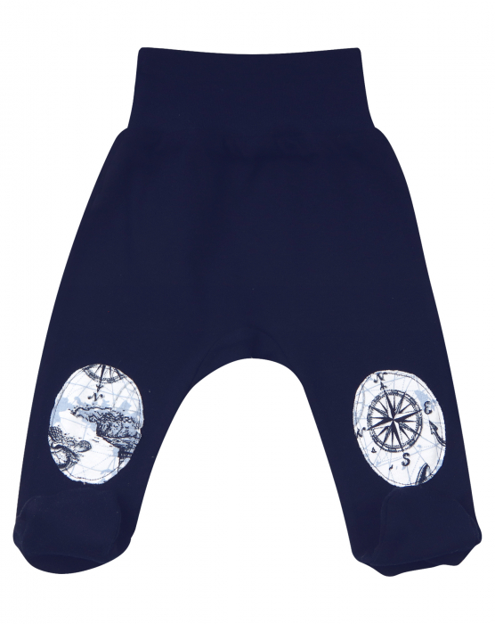 Pantalon tip pijama cu talpa, bumbac organic 100%, baieti, Albastru marin 0