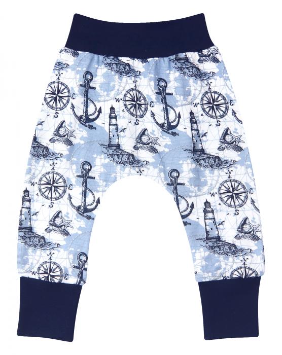 Pantalon trening, bumbac organic 100%, baieti,  Albastru marin/Alb 0
