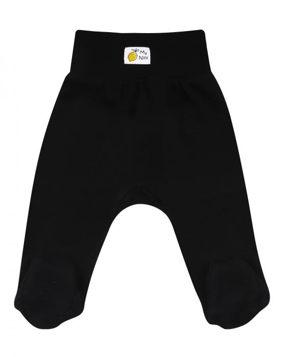 Pantalon tip pijama cu talpa, bumbac organic 100%, fete, negru_Lemon 0