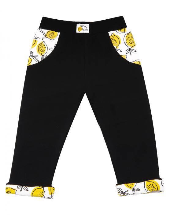 Pantalon lung, subtire, bumbac organic 100%, fete, negru_Lemon 0