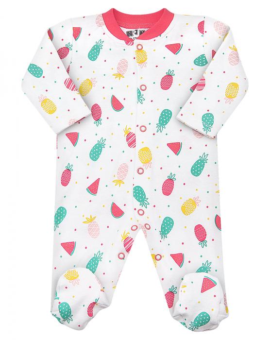 Pijama tip salopeta intreaga cu talpa, bumbac organic 100%, fete, Alb/Fructe 0