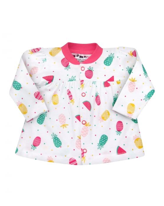 Bluza cu maneca lunga, bumbac organic,100%, fete, Alb/Fructe 0