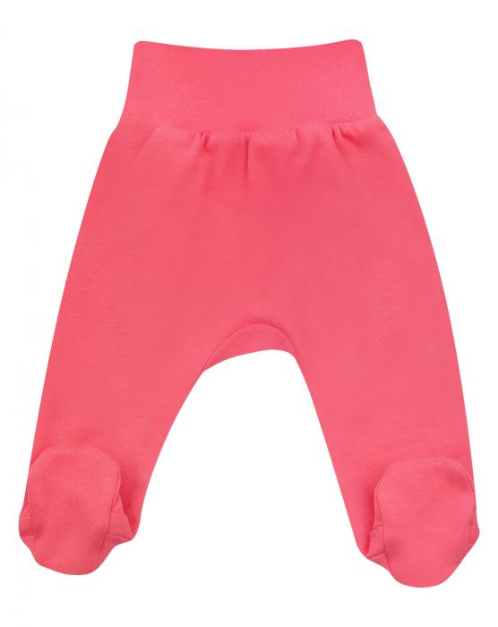 Pantalon tip pijama cu talpa, bumbac organic 100%, fete, Roz [0]