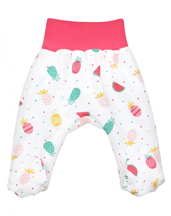 Pantalon tip pijama cu talpa, bumbac organic 100%, fete, Alb/Roz fructe [0]