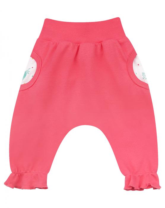 Pantalon trening cu buzunare, bumbac organic 100%, fete, Roz 0