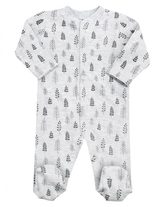 Pijama tip salopeta intreaga cu talpa, Gri cu flori 0