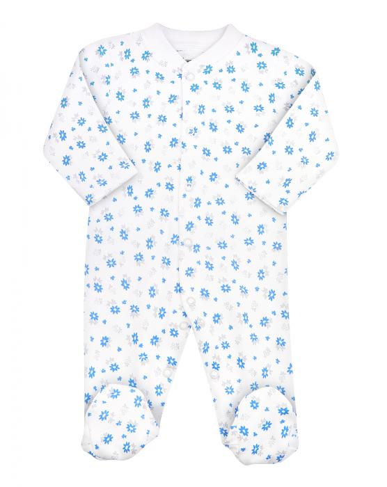 Pijama tip salopeta, intreaga cu talpa, bumbac 100%_Alb/Floricele bleu 0