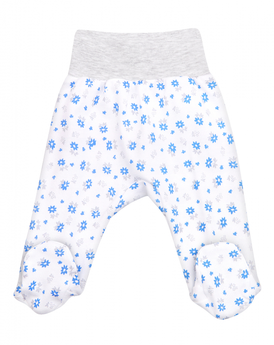 Pantalon tip pijama cu talpa, bumbac 100%_Alb/Floricele bleu 0