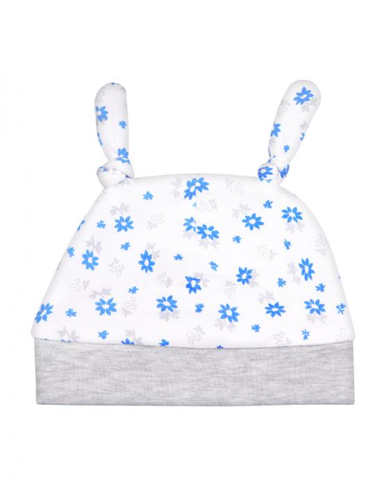 Caciulita bebe cu urechiuse, bumbac 100%, Alb/Gri/Floricele bleu [0]