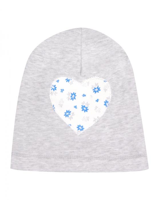 Caciulita bebe, bumbac 100%, Gri inima/Flori 0