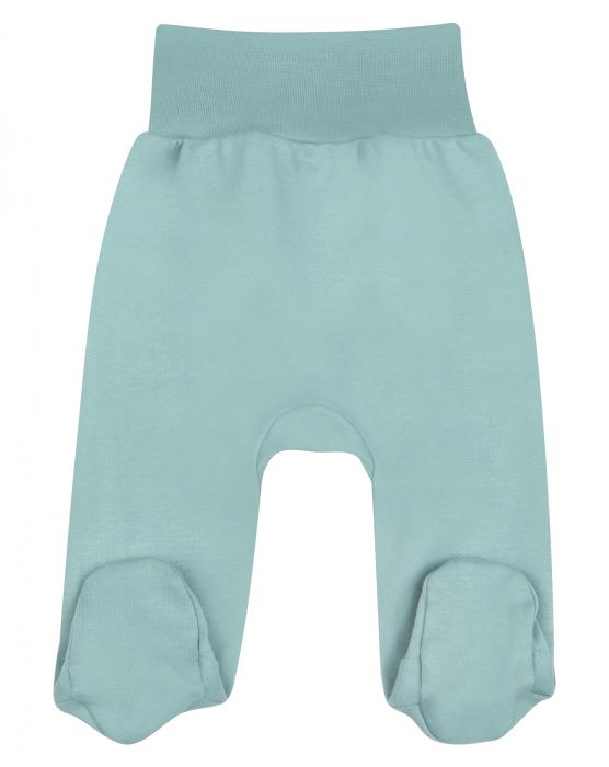Pantalon tip pijama cu talpa, bumbac organic 100%, baieti, Verde [0]