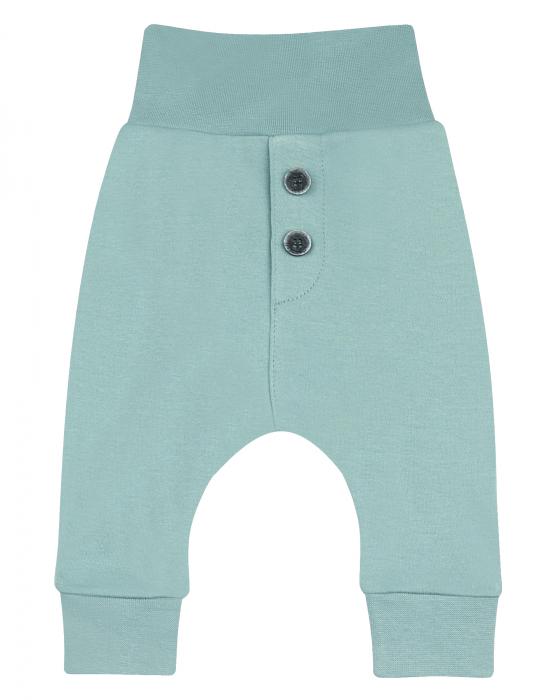Pantalon lung, bumbac organic 100%, unisex, Verde 0