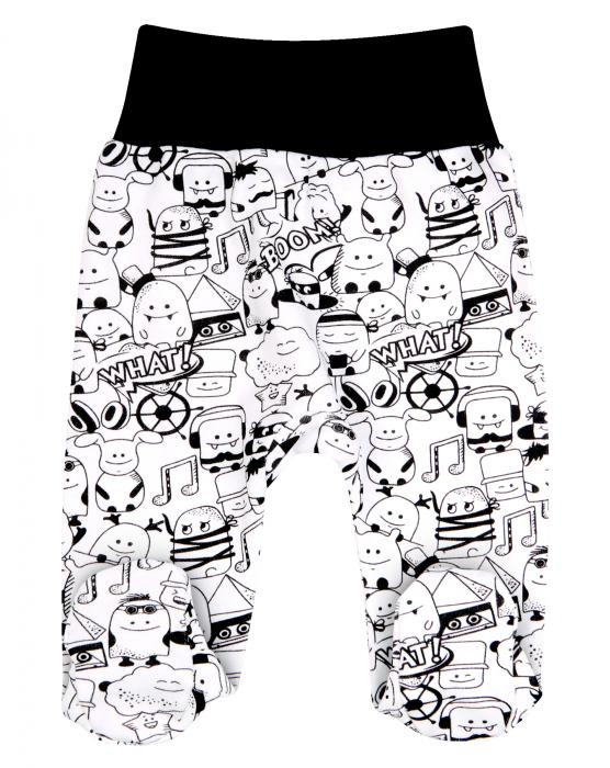 Pantalon tip pijama cu talpa, bumbac organic 100%, baieti, Alb/Negru, Music 0