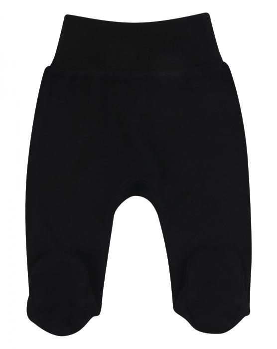Pantalon tip pijama cu talpa, bumbac organic 100%, baieti, Negru 0