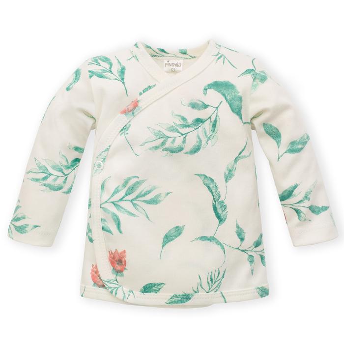 Bluza corp bebe petrecuta, maneca lunga, bumbac 100%, Ecru/Flori, fete, Spring Light 0