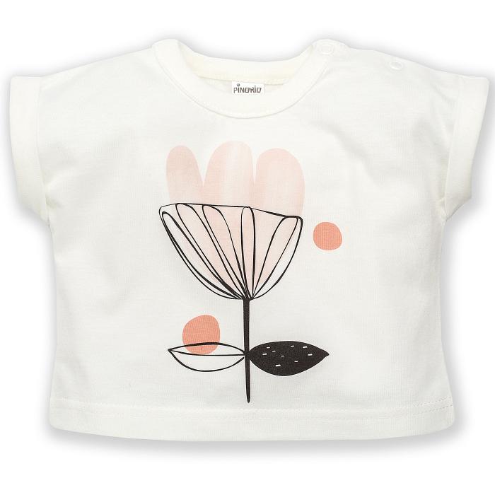 Tricou maneca scurta, bumbac 100%, Ecru, fete_Tiny Flowers [0]