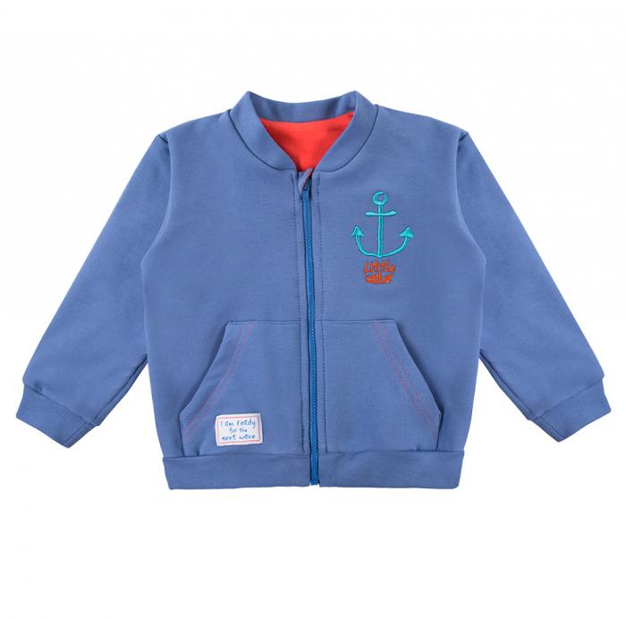 Bluza trening cu fermoar, bumbac 100%, baieti, Albastru, Little Sailor 0