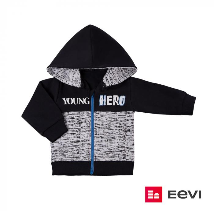 Bluza trening cu fermoar si gluga detasabila_Negru/Gri_Young Hero 0