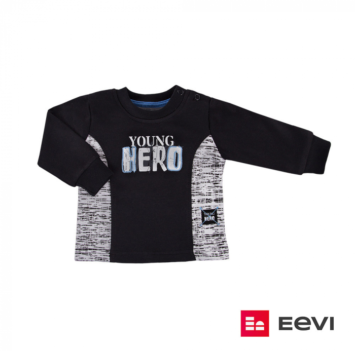 Bluza cu maneca lunga, Negru/Gri, Young Hero 0