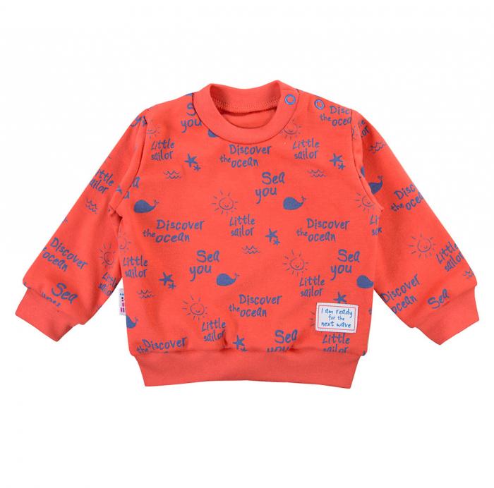 Bluza trening cu maneca lunga, bumbac 100%_baieti_portocaliu neon_Little Sailor 0