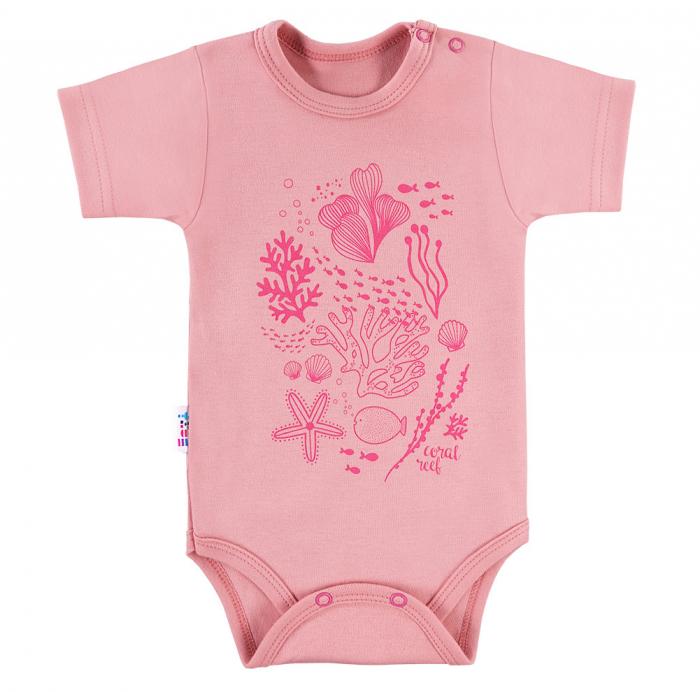 Body maneca scurta, bumbac 100%, fete, roz prafuit_Coral [0]