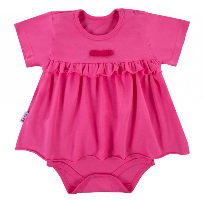 Body tip rochita cu maneca scurta, bumbac 100%, roz, Coral 0