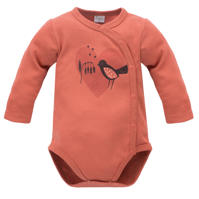 Body petrecut cu maneca lunga, Caramiziu, Little bird 0