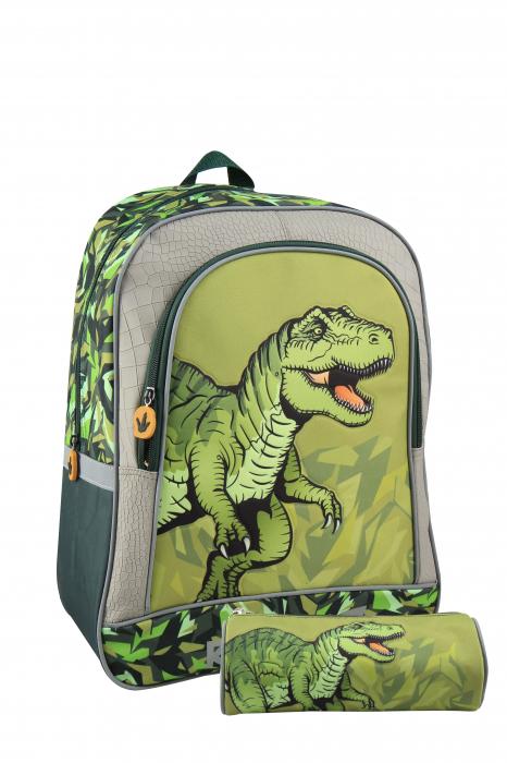 Ghiozdan mare cu penar, baieti, Verde, Dinozaur 0