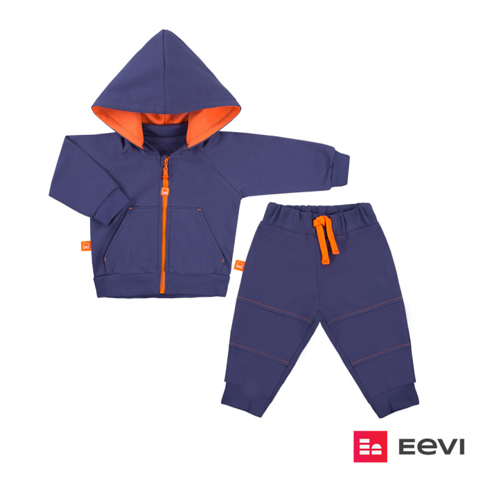 Trening intreg, bluza cu gluga detasabila si pantalon, Indigo/Portocaliu, Neon Heart Granat 0