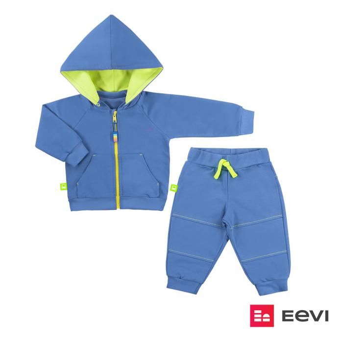 Trening intreg, bluza cu gluga detasabila si pantalon, Albastru/Galben, Neon Car jeans 0
