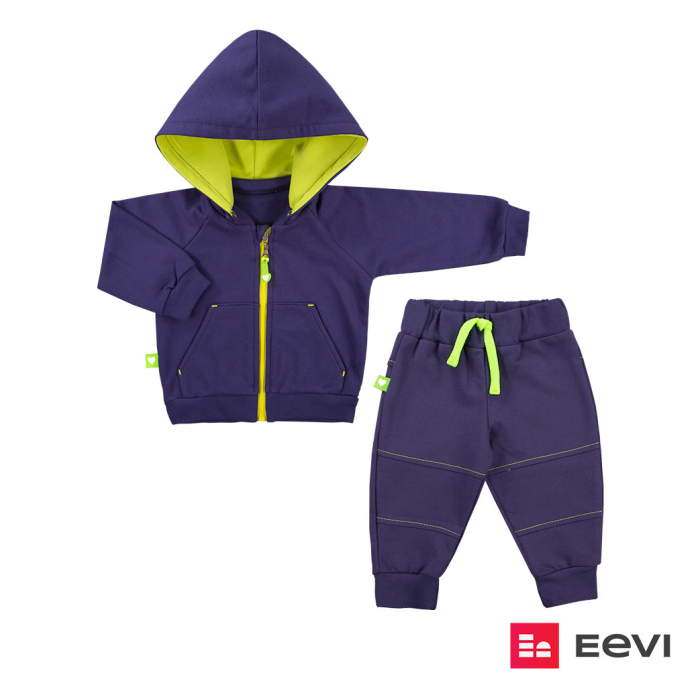 Trening intreg, bluza cu gluga detasabila si pantalon, Indigo/galben, Neon Heart granat [0]