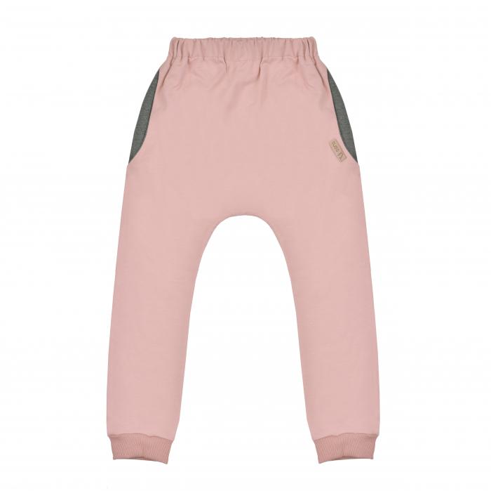 Pantalon lung cu buzunare, fete, Roz/Gri 0
