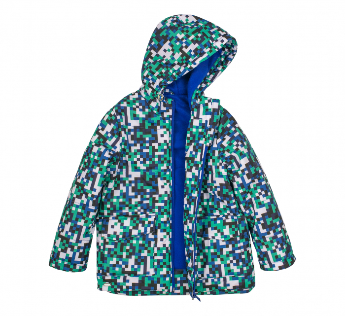 Jacheta groasa cu gluga, element reflectorizant, baieti, Verde/Albastru 1