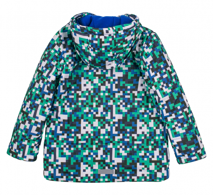 Jacheta groasa cu gluga, element reflectorizant, baieti, Verde/Albastru 3