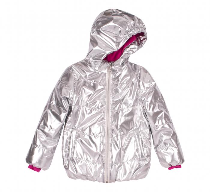 Jacheta groasa cu gluga, fete, Argintiu metalic 0