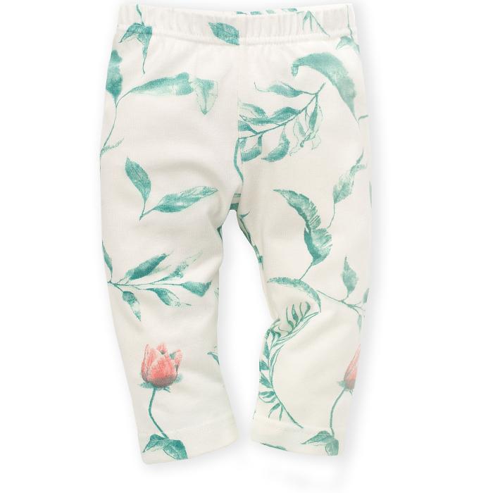 """Pantalon lung tip """"leggings"""", bumbac 100%_fete_Ecru/Flori_Spring Light 0"""