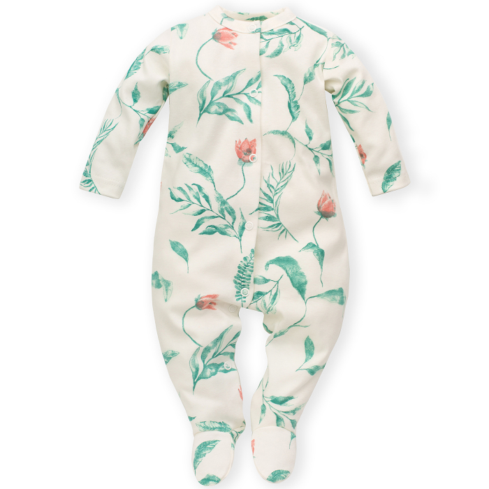 Pijama intreaga cu talpa, bumbac 100%_fete_Ecru/Flori_Spring Light 0
