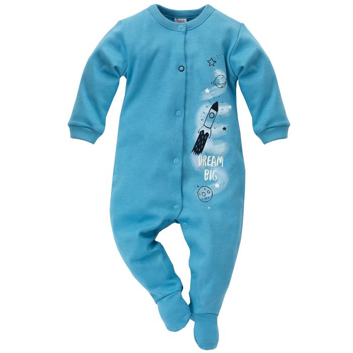 Pijama tip salopeta intreaga cu talpa bumbac 100%_blue_Big dream 0