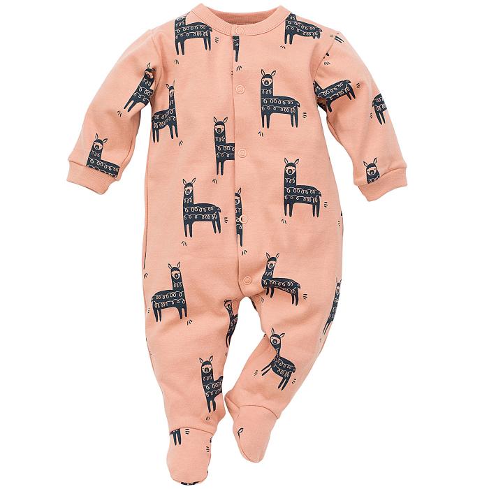 Pijama tip salopeta intreaga cu talpa bumbac 100%_caramizie_ Happy Llama 0