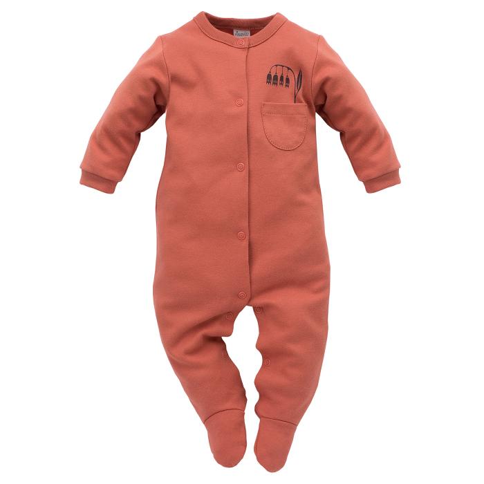 Pijama tip salopeta intreaga cu talpa bumbac 100%_Caramiziu_Little bird 0