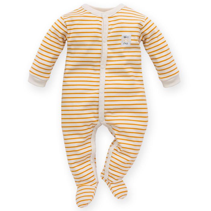 Pijama tip salopeta intreaga cu talpa _ Bej cu dungi galben/maro_Nice day 0