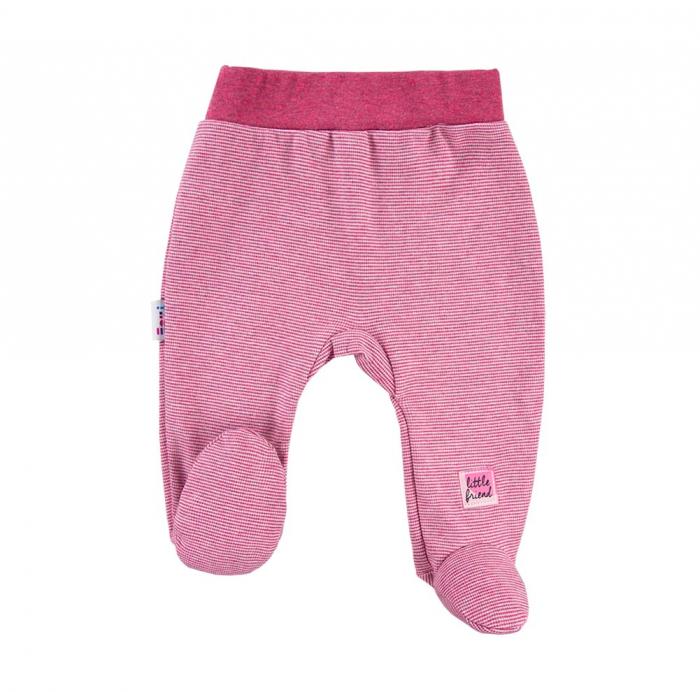 Pantalon tip pijama cu talpa, Bordo/Dungi_Snow 0