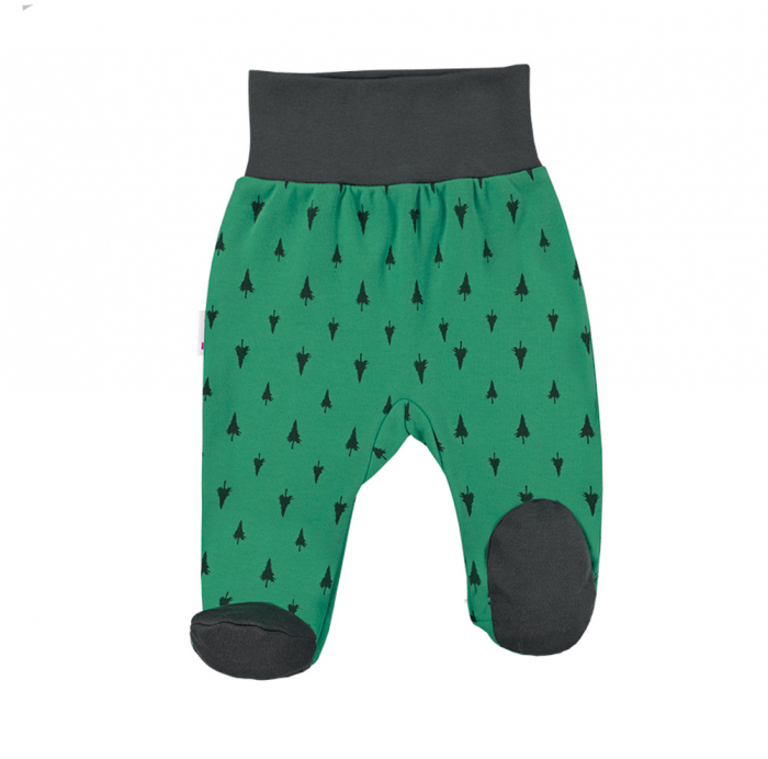 Pantalon tip pijama cu talpa_Verde/Gri_Trip 0