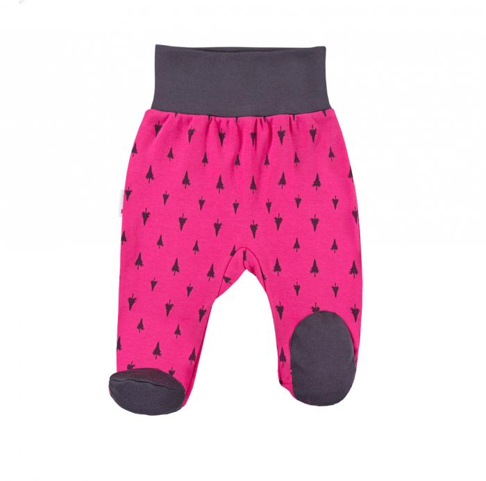 Pantalon tip pijama cu talpa, bumbac 100%, Roz/Gri, Trip 0