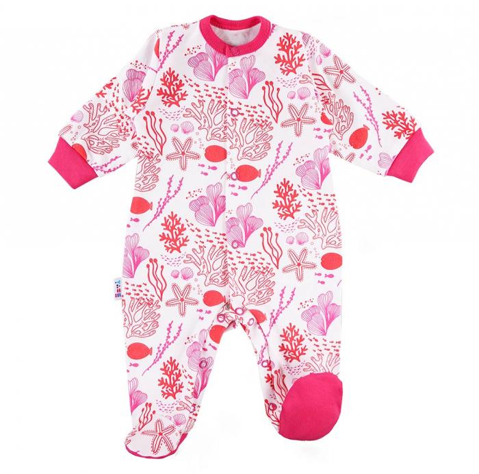 Pijama tip salopeta, intreaga cu talpa, bumbac 100%_alb/roz_fete_Coral [0]