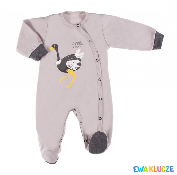 Pijama tip salopeta intreaga cu talpa bumbac 100%_gri_Emu 0