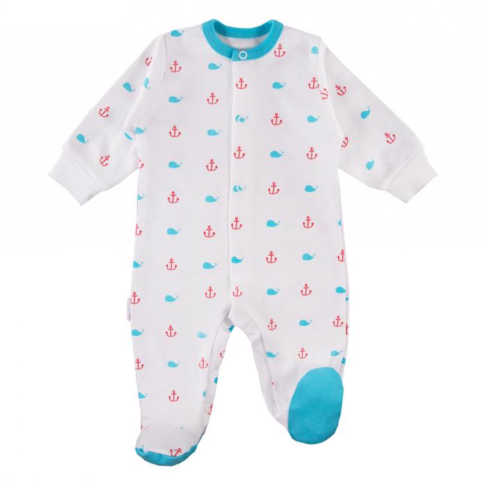Pijama tip salopeta intreaga cu talpa, bumbac 100%, baieti, alb, Little Sailor 0
